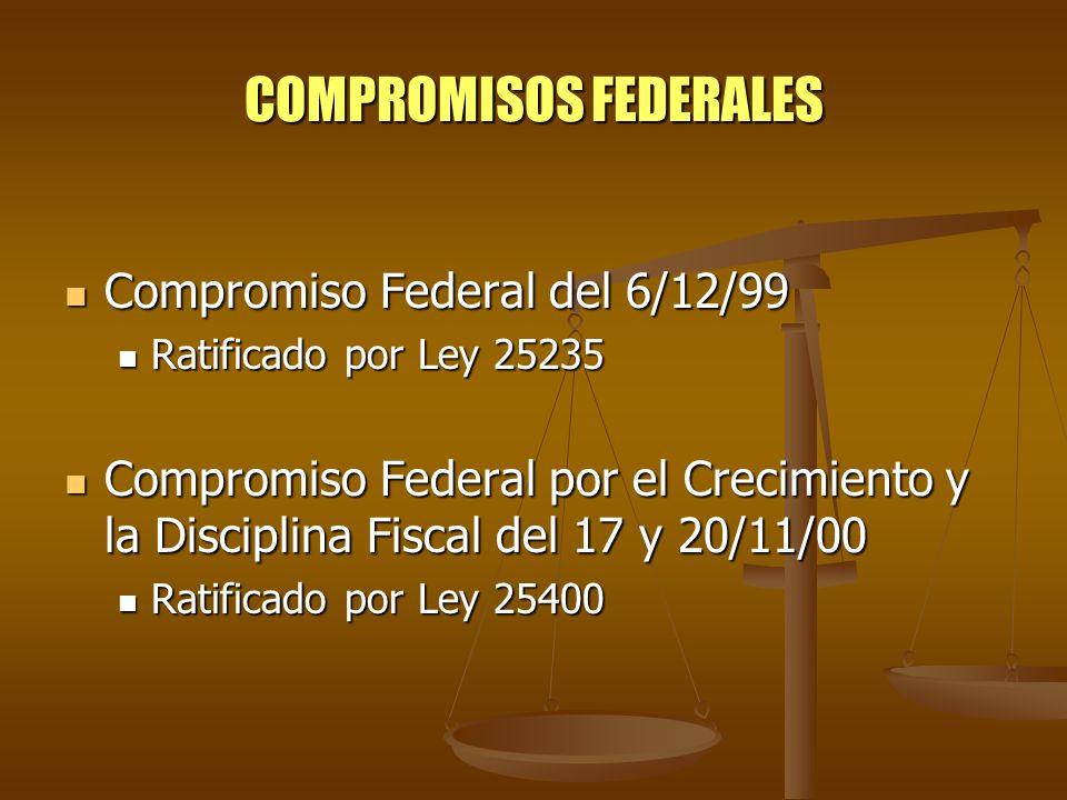 COMPROMISOS FEDERALES Compromiso Federal del 6/12/99 Compromiso Federal del 6/12/99 Ratificado por Ley 25235 Ratificado por Ley 25235 Compromiso Feder