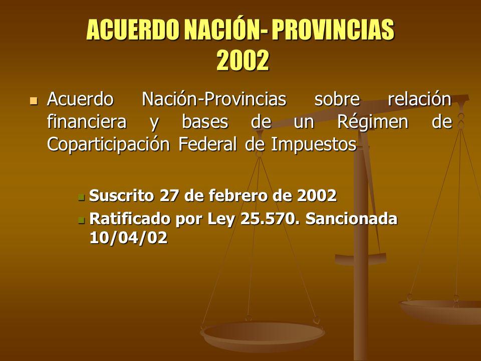 ACUERDO NACIÓN- PROVINCIAS 2002 Acuerdo Nación-Provincias sobre relación financiera y bases de un Régimen de Coparticipación Federal de Impuestos Acue