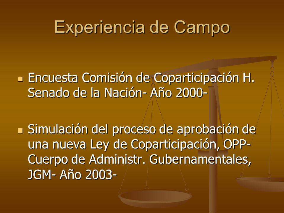 Conclusiones (3) Documento Encuesta Criterios devolutivos y redistributivos Criterios devolutivos y redistributivos Actualización de los criterios Actualización de los criterios Ninguna Pcia.