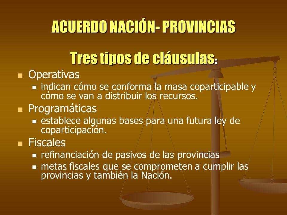 ACUERDO NACIÓN- PROVINCIAS Tres tipos de cláusulas : Operativas indican cómo se conforma la masa coparticipable y cómo se van a distribuir los recurso