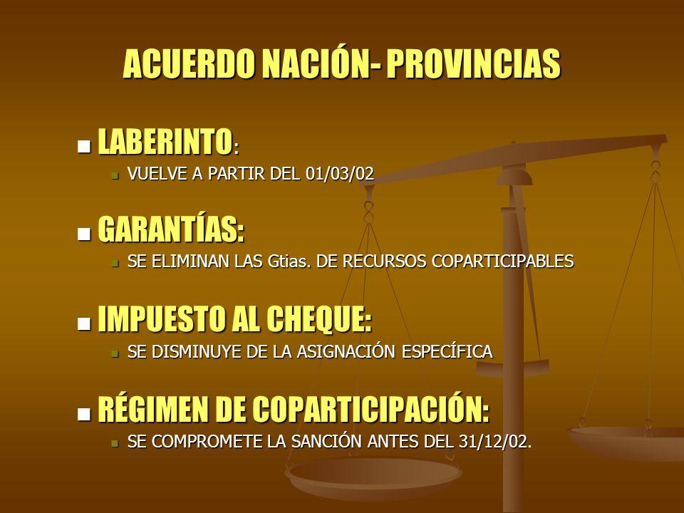 ACUERDO NACIÓN- PROVINCIAS LABERINTO : LABERINTO : VUELVE A PARTIR DEL 01/03/02 VUELVE A PARTIR DEL 01/03/02 GARANTÍAS: GARANTÍAS: SE ELIMINAN LAS Gti