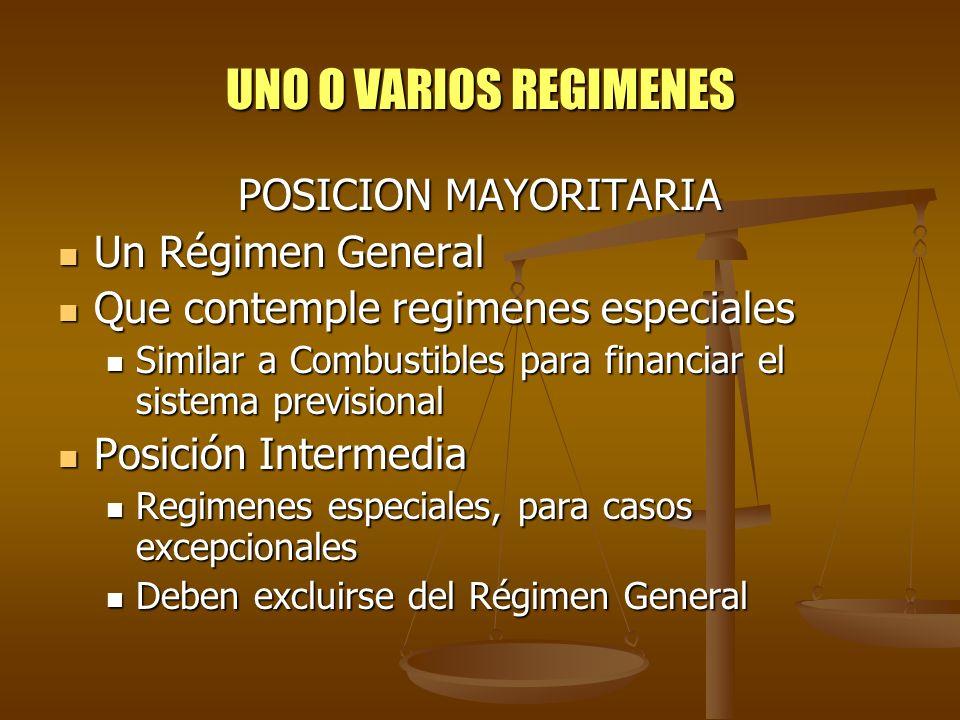 UNO O VARIOS REGIMENES POSICION MAYORITARIA Un Régimen General Un Régimen General Que contemple regimenes especiales Que contemple regimenes especiale