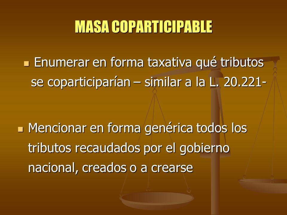 MASA COPARTICIPABLE Enumerar en forma taxativa qué tributos se coparticiparían – similar a la L. 20.221- Enumerar en forma taxativa qué tributos se co