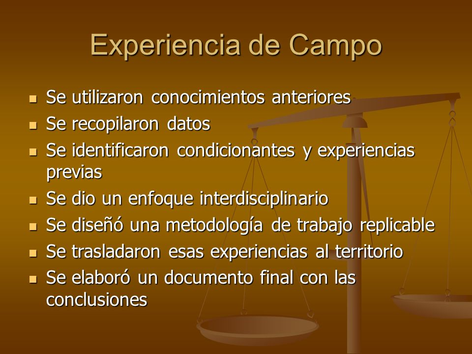 Experiencia de Campo Se utilizaron conocimientos anteriores Se utilizaron conocimientos anteriores Se recopilaron datos Se recopilaron datos Se identi