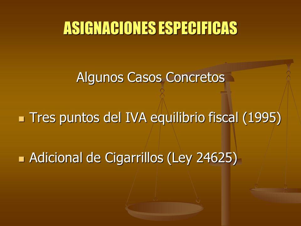 ASIGNACIONES ESPECIFICAS Algunos Casos Concretos Tres puntos del IVA equilibrio fiscal (1995) Tres puntos del IVA equilibrio fiscal (1995) Adicional d