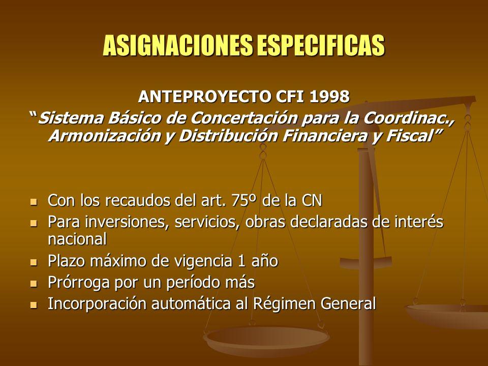 ASIGNACIONES ESPECIFICAS ANTEPROYECTO CFI 1998 Sistema Básico de Concertación para la Coordinac., Armonización y Distribución Financiera y FiscalSiste