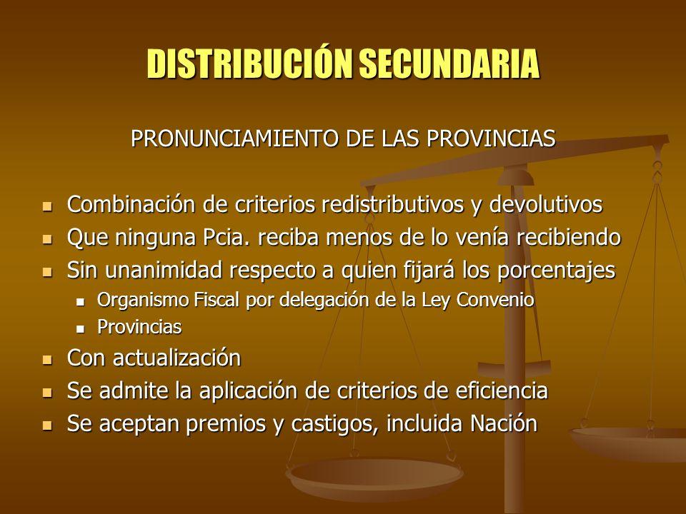 DISTRIBUCIÓN SECUNDARIA PRONUNCIAMIENTO DE LAS PROVINCIAS Combinación de criterios redistributivos y devolutivos Combinación de criterios redistributi