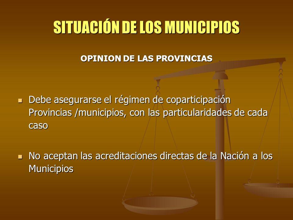 SITUACIÓN DE LOS MUNICIPIOS OPINION DE LAS PROVINCIAS Debe asegurarse el régimen de coparticipación Provincias /municipios, con las particularidades d