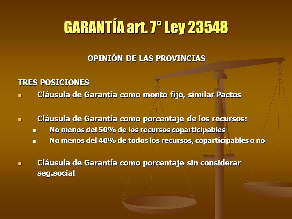 GARANTÍA art. 7° Ley 23548 OPINIÓN DE LAS PROVINCIAS TRES POSICIONES Cláusula de Garantía como monto fijo, similar Pactos Cláusula de Garantía como mo