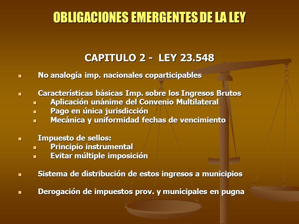 OBLIGACIONES EMERGENTES DE LA LEY CAPITULO 2 - LEY 23.548 No analogía imp. nacionales coparticipables No analogía imp. nacionales coparticipables Cara