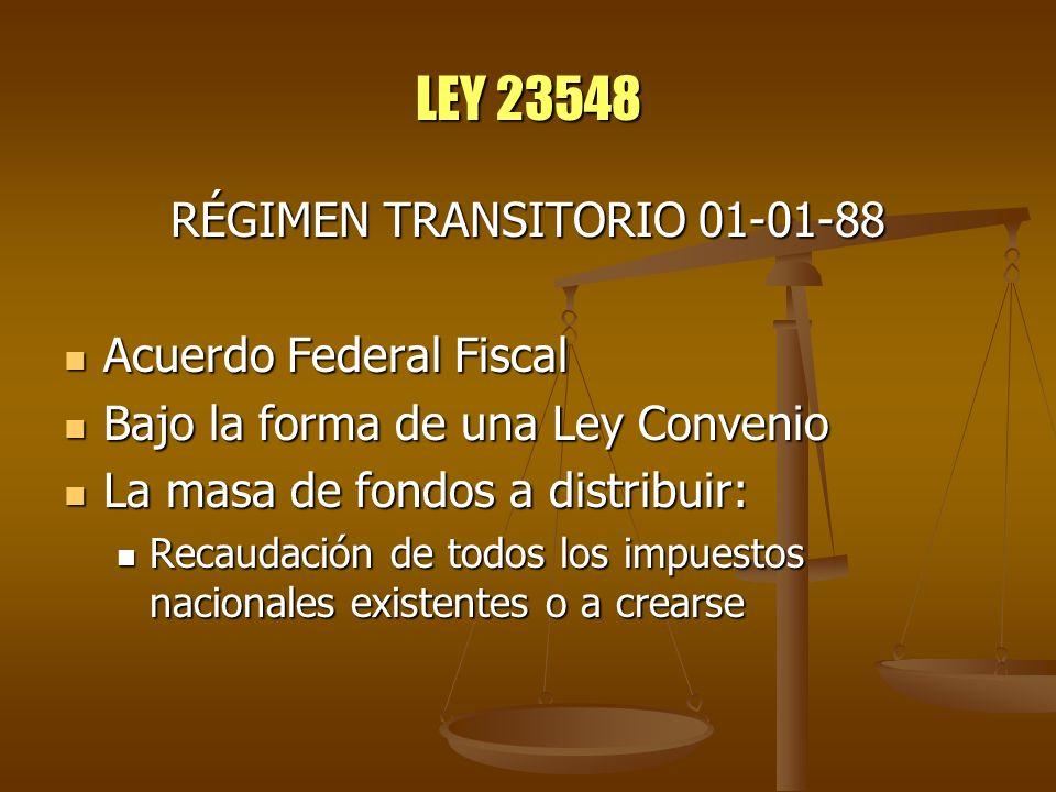 LEY 23548 RÉGIMEN TRANSITORIO 01-01-88 Acuerdo Federal Fiscal Acuerdo Federal Fiscal Bajo la forma de una Ley Convenio Bajo la forma de una Ley Conven