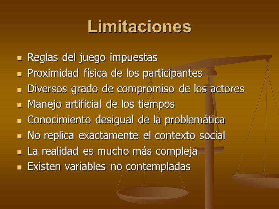 Limitaciones Reglas del juego impuestas Reglas del juego impuestas Proximidad física de los participantes Proximidad física de los participantes Diver