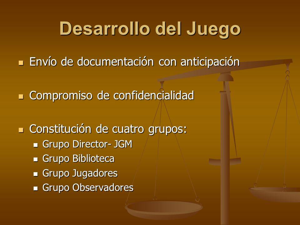 Desarrollo del Juego Envío de documentación con anticipación Envío de documentación con anticipación Compromiso de confidencialidad Compromiso de conf