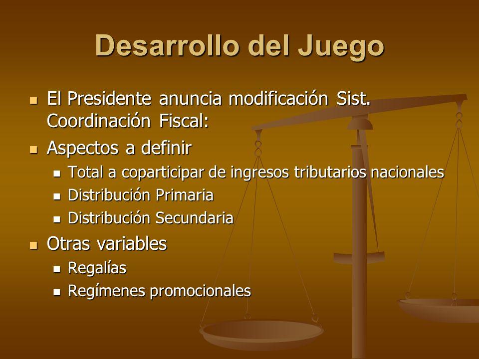 Desarrollo del Juego El Presidente anuncia modificación Sist. Coordinación Fiscal: El Presidente anuncia modificación Sist. Coordinación Fiscal: Aspec