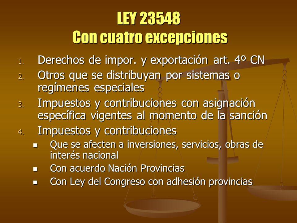 LEY 23548 Destino de lo recaudado El 42,37% en forma automática a la Nación El 42,37% en forma automática a la Nación El 54,66% al conjunto de provincias adheridas El 54,66% al conjunto de provincias adheridas El 2% para el recupero de: Buenos Aires, Chubut, Neuquén, Santa Cruz El 2% para el recupero de: Buenos Aires, Chubut, Neuquén, Santa Cruz El 1% Aportes del Tesoro Nacional – ATN – para las provincias: El 1% Aportes del Tesoro Nacional – ATN – para las provincias: Situaciones de emergencia y desequilibrio financieros Situaciones de emergencia y desequilibrio financieros Previsto presupuestariamente en el Minister.