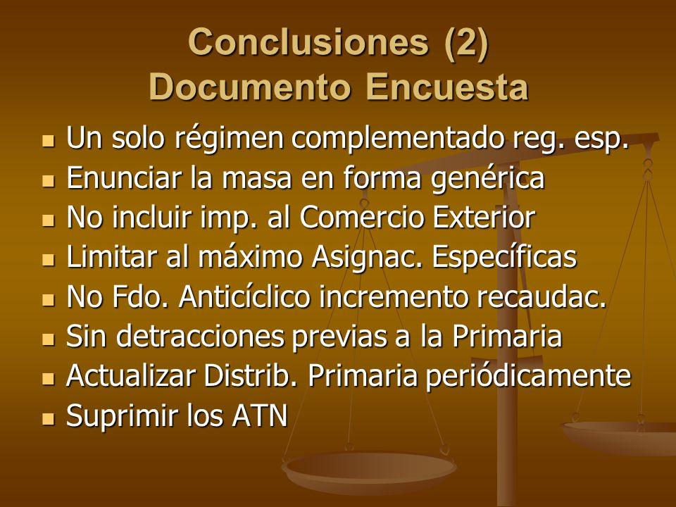 Conclusiones (2) Documento Encuesta Un solo régimen complementado reg. esp. Un solo régimen complementado reg. esp. Enunciar la masa en forma genérica