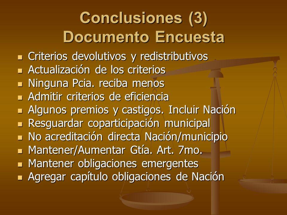 Conclusiones (3) Documento Encuesta Criterios devolutivos y redistributivos Criterios devolutivos y redistributivos Actualización de los criterios Act