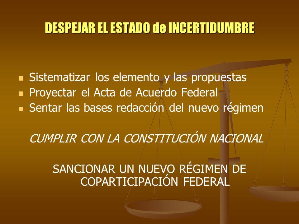 DESPEJAR EL ESTADO de INCERTIDUMBRE Sistematizar los elemento y las propuestas Proyectar el Acta de Acuerdo Federal Sentar las bases redacción del nue