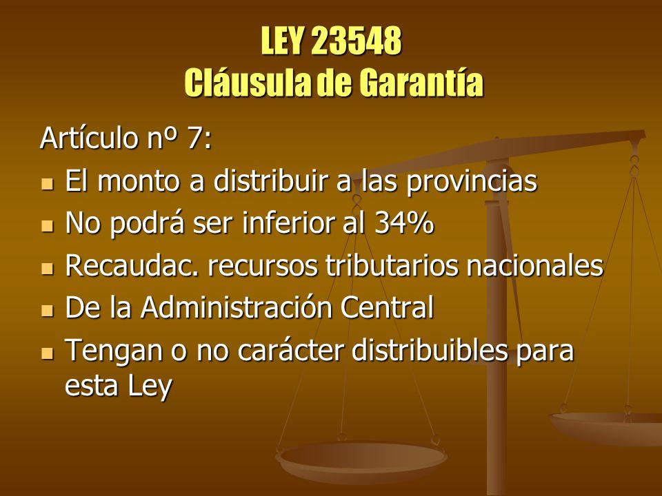 LEY 23548 Cláusula de Garantía Artículo nº 20: La Contaduría General de la Nación La Contaduría General de la Nación Determinará antes del 15 de febrero del año siguiente, si se ha distribuido un monto equivalente al porcentual garantizado Determinará antes del 15 de febrero del año siguiente, si se ha distribuido un monto equivalente al porcentual garantizado En caso de resultar inferior, el ajuste respectivo deberá ser liquidado y pagado a las provincias antes del 30 de abril del mismo año En caso de resultar inferior, el ajuste respectivo deberá ser liquidado y pagado a las provincias antes del 30 de abril del mismo año