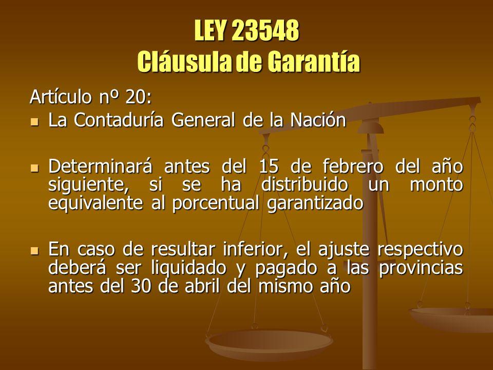 LEY 23548 Cláusula de Garantía Artículo nº 20: La Contaduría General de la Nación La Contaduría General de la Nación Determinará antes del 15 de febre
