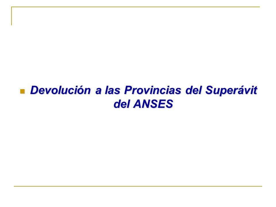 Devolución a las Provincias del Superávit del ANSES Devolución a las Provincias del Superávit del ANSES