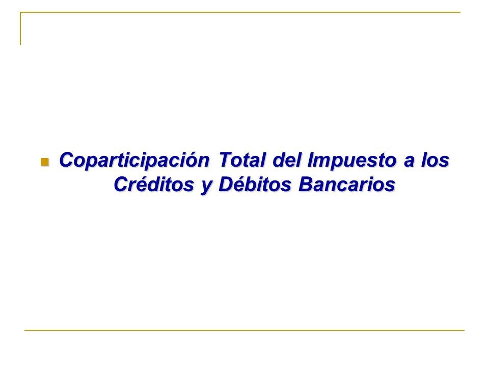 Coparticipación Total del Impuesto a los Créditos y Débitos Bancarios Coparticipación Total del Impuesto a los Créditos y Débitos Bancarios