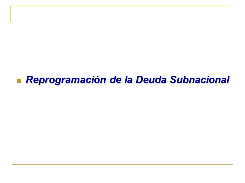 Reprogramación de la Deuda Subnacional Reprogramación de la Deuda Subnacional