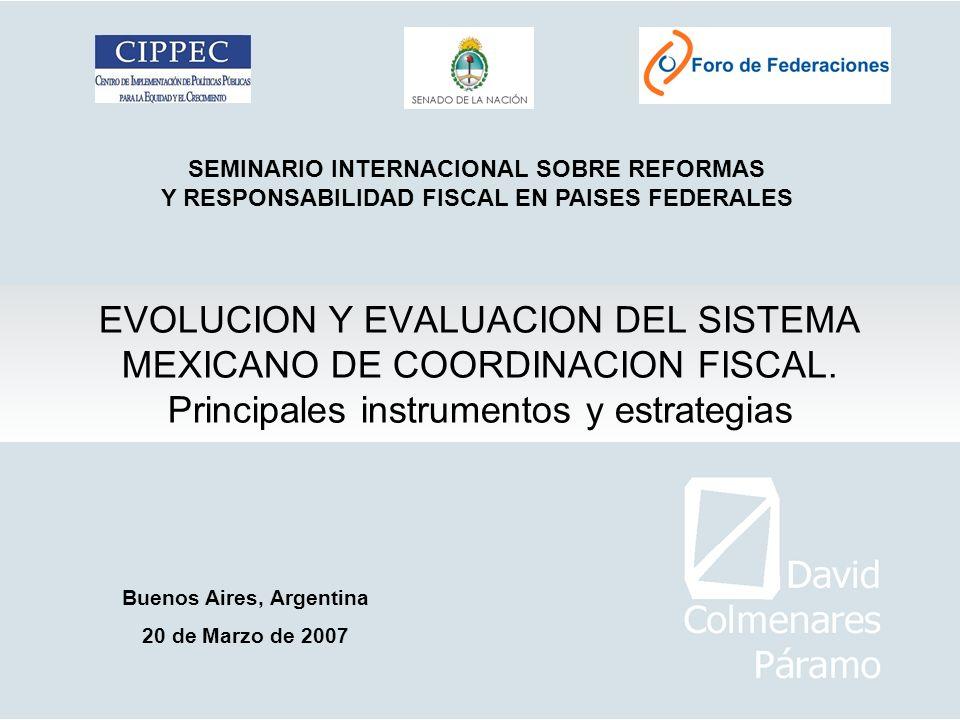 EVOLUCION Y EVALUACION DEL SISTEMA MEXICANO DE COORDINACION FISCAL. Principales instrumentos y estrategias SEMINARIO INTERNACIONAL SOBRE REFORMAS Y RE