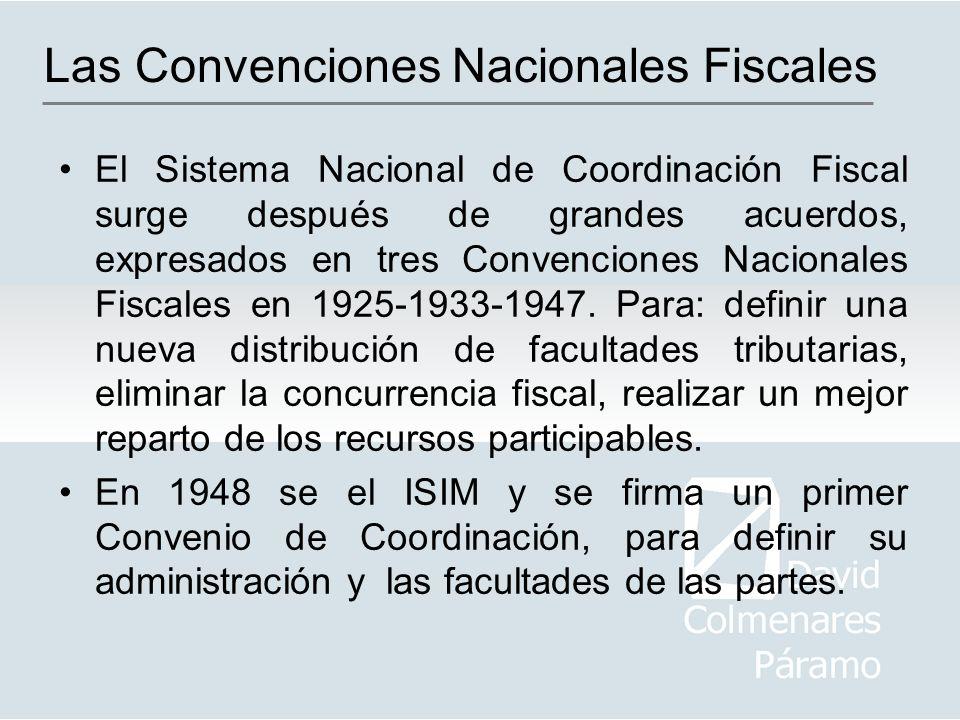 El Sistema Nacional de Coordinación Fiscal surge después de grandes acuerdos, expresados en tres Convenciones Nacionales Fiscales en 1925-1933-1947. P