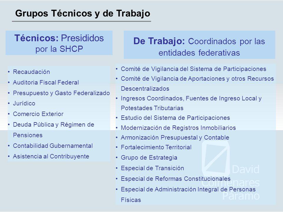 Grupos Técnicos y de Trabajo Técnicos: Presididos por la SHCP De Trabajo: Coordinados por las entidades federativas Recaudación Auditoria Fiscal Feder