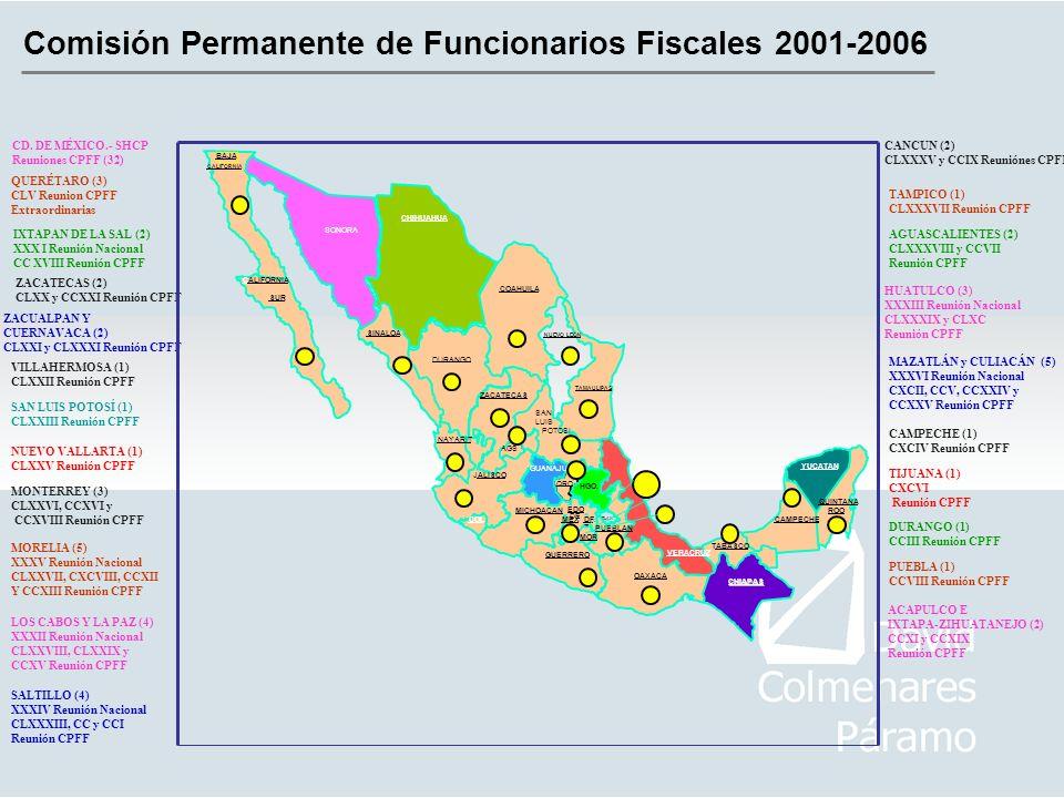Comisión Permanente de Funcionarios Fiscales 2001-2006 CD. DE MÉXICO.- SHCP Reuniones CPFF (32) QUERÉTARO (3) CLV Reunion CPFF Extraordinarias IXTAPAN