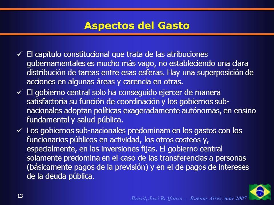 Brasil, José R.Afonso - Buenos Aires, mar 2007 13 Aspectos del Gasto El capítulo constitucional que trata de las atribuciones gubernamentales es mucho más vago, no estableciendo una clara distribución de tareas entre esas esferas.