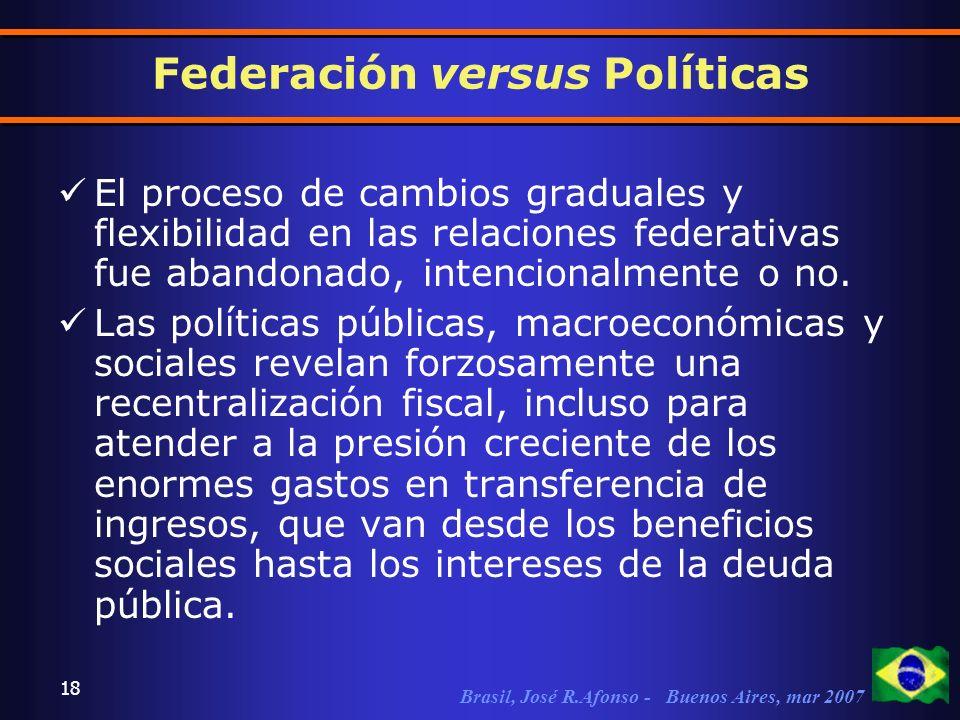 Brasil, José R.Afonso - Buenos Aires, mar 2007 18 El proceso de cambios graduales y flexibilidad en las relaciones federativas fue abandonado, intencionalmente o no.