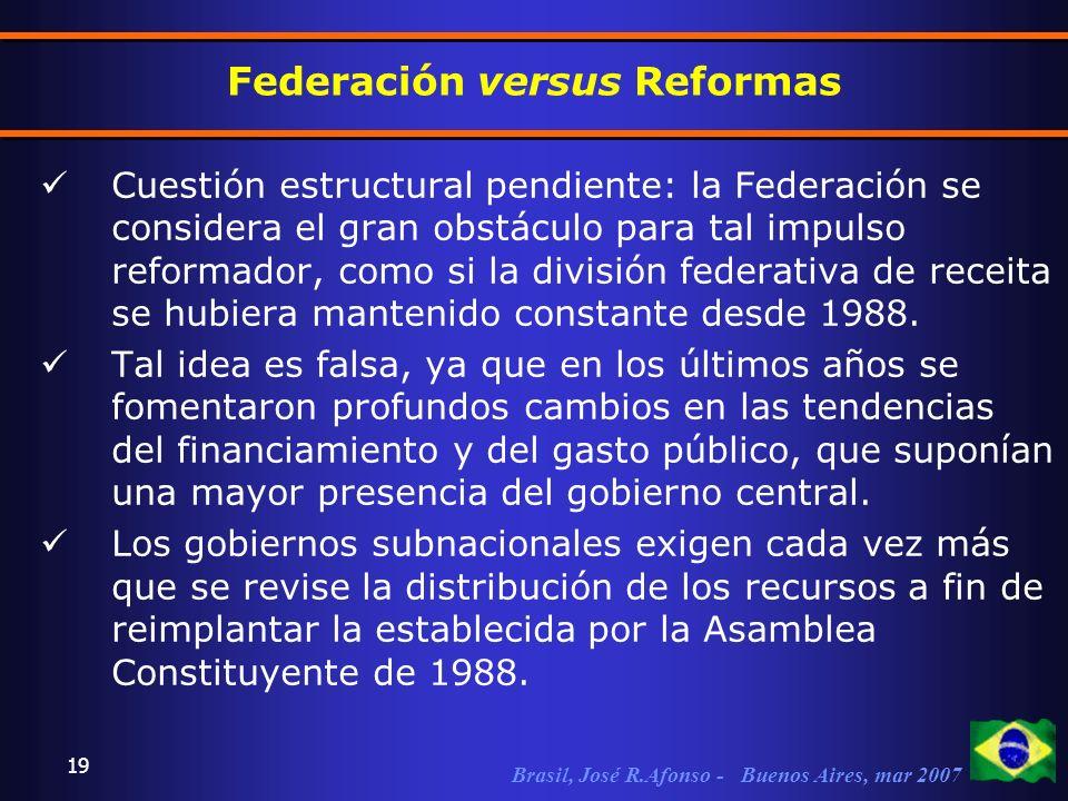 Brasil, José R.Afonso - Buenos Aires, mar 2007 19 Federación versus Reformas Cuestión estructural pendiente: la Federación se considera el gran obstáculo para tal impulso reformador, como si la división federativa de receita se hubiera mantenido constante desde 1988.