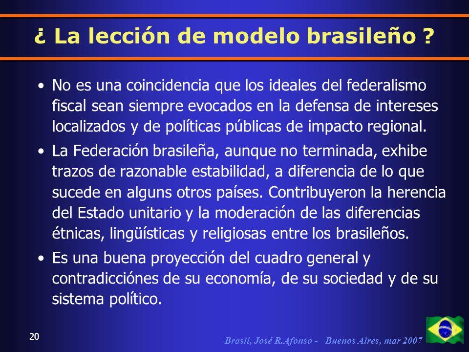Brasil, José R.Afonso - Buenos Aires, mar 2007 20 No es una coincidencia que los ideales del federalismo fiscal sean siempre evocados en la defensa de intereses localizados y de políticas públicas de impacto regional.
