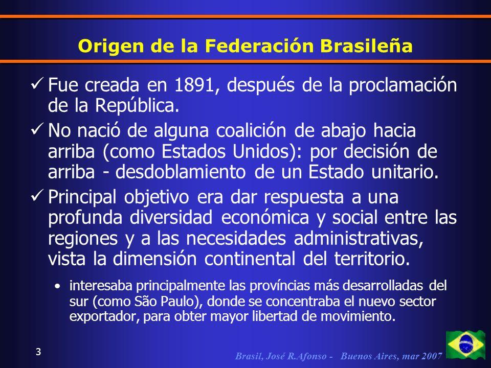 Brasil, José R.Afonso - Buenos Aires, mar 2007 3 Origen de la Federación Brasileña Fue creada en 1891, después de la proclamación de la República.