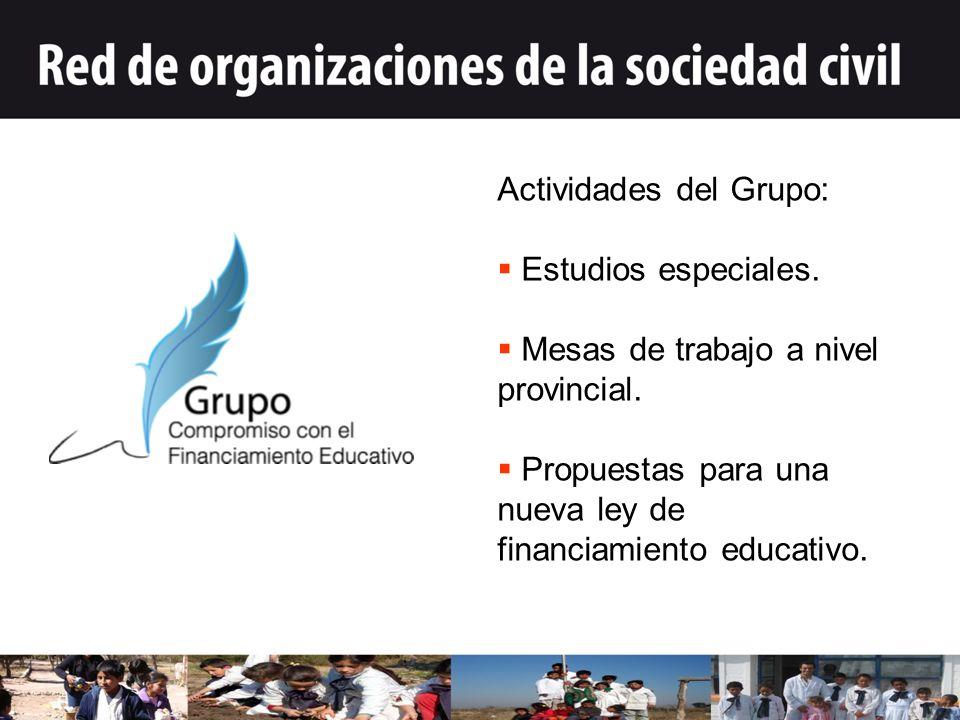 Actividades del Grupo: Estudios especiales. Mesas de trabajo a nivel provincial.
