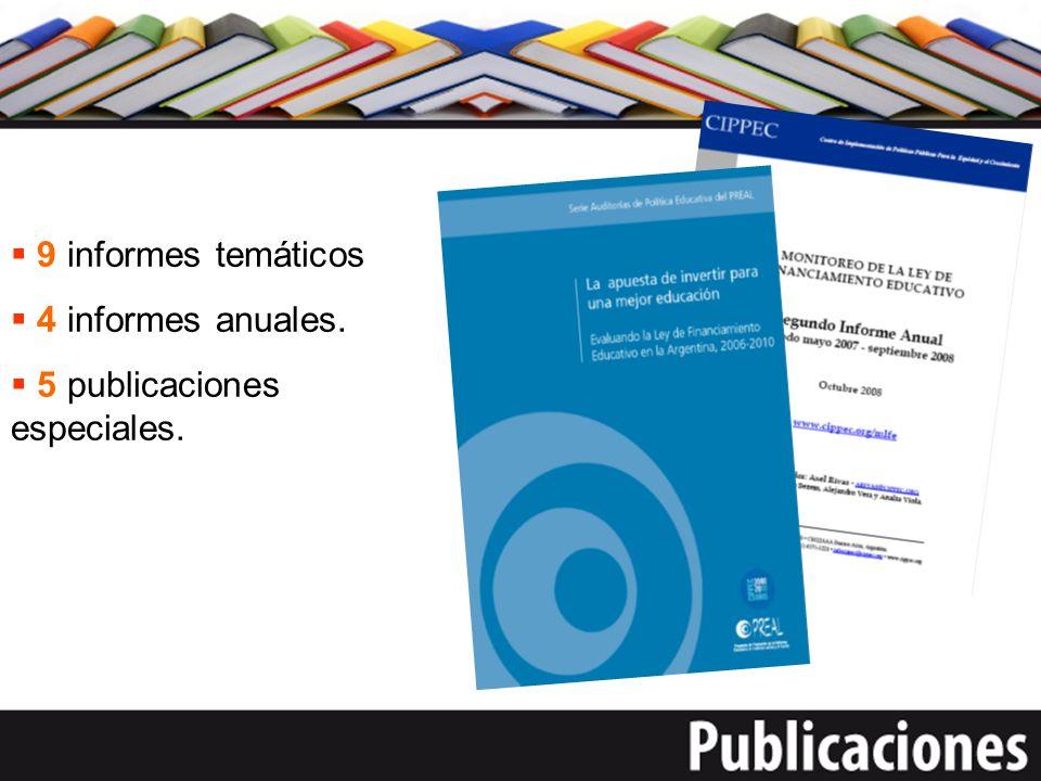 9 informes temáticos 4 informes anuales. 5 publicaciones especiales.