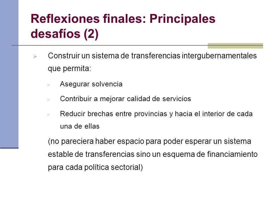 Reflexiones finales: Principales desafíos (2) Construir un sistema de transferencias intergubernamentales que permita: Asegurar solvencia Contribuir a