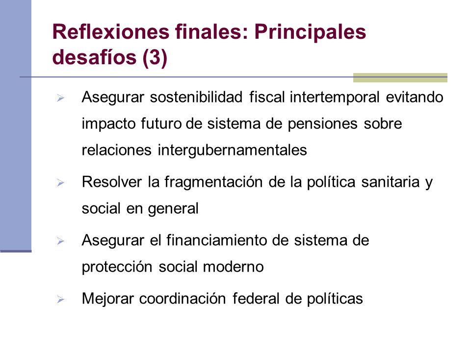 Reflexiones finales: Principales desafíos (3) Asegurar sostenibilidad fiscal intertemporal evitando impacto futuro de sistema de pensiones sobre relac