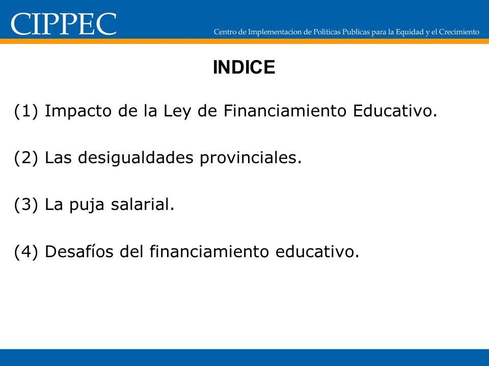 INDICE (1) Impacto de la Ley de Financiamiento Educativo. (2) Las desigualdades provinciales. (3) La puja salarial. (4) Desafíos del financiamiento ed