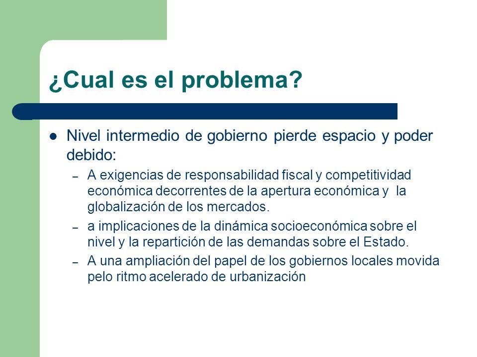 ¿Cual es el problema? Nivel intermedio de gobierno pierde espacio y poder debido: – A exigencias de responsabilidad fiscal y competitividad económica