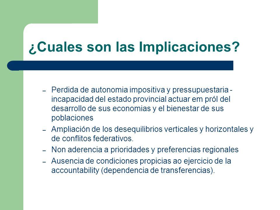 ¿Cuales son las Implicaciones? – Perdida de autonomia impositiva y pressupuestaria - incapacidad del estado provincial actuar em pról del desarrollo d