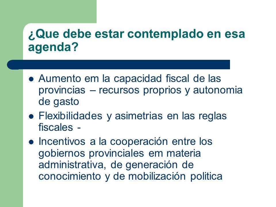 ¿Que debe estar contemplado en esa agenda? Aumento em la capacidad fiscal de las provincias – recursos proprios y autonomia de gasto Flexibilidades y