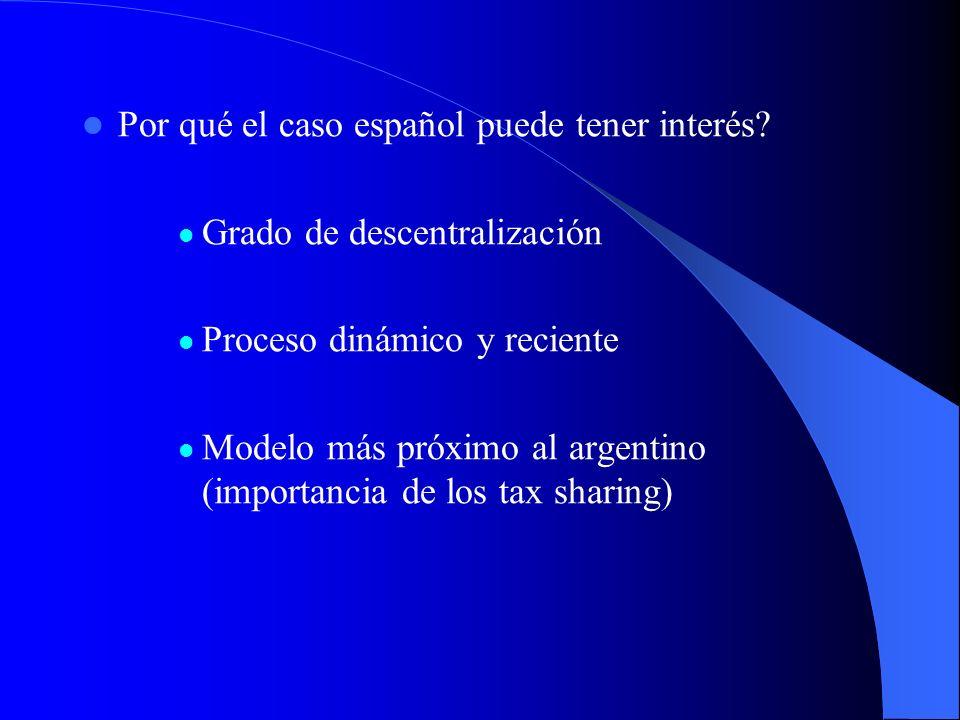Por qué el caso español puede tener interés? Grado de descentralización Proceso dinámico y reciente Modelo más próximo al argentino (importancia de lo