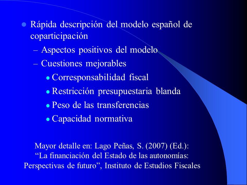 Rápida descripción del modelo español de coparticipación – Aspectos positivos del modelo – Cuestiones mejorables Corresponsabilidad fiscal Restricción