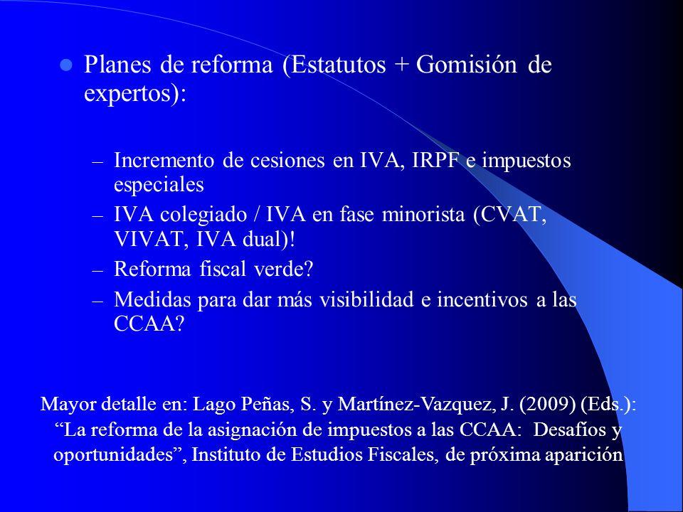 Planes de reforma (Estatutos + Gomisión de expertos): – Incremento de cesiones en IVA, IRPF e impuestos especiales – IVA colegiado / IVA en fase minor