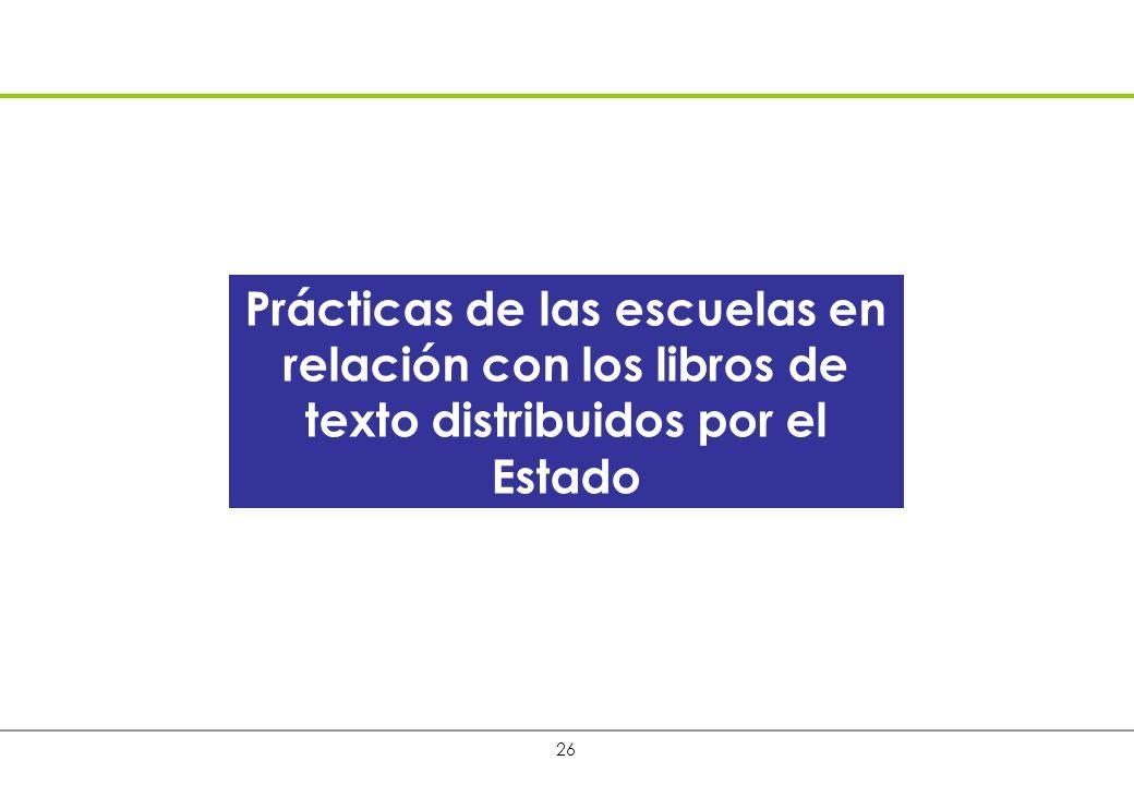 26 Prácticas de las escuelas en relación con los libros de texto distribuidos por el Estado