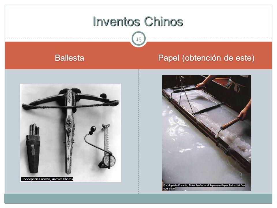 15 Ballesta Papel (obtención de este) Inventos Chinos