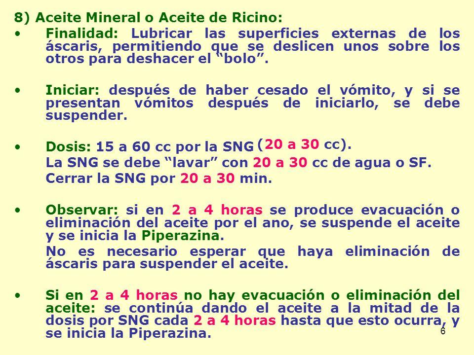 7 9) Piperazina: –Presentación: Fco 60 cc.Neparax ® : Jbe 15%: 15 gr/100 cc.